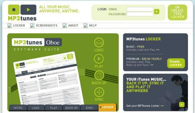 MP3Tunes.com in November, 2005