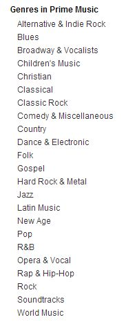 prime music - genres