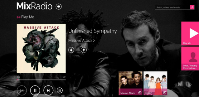 mixradio play panel with background