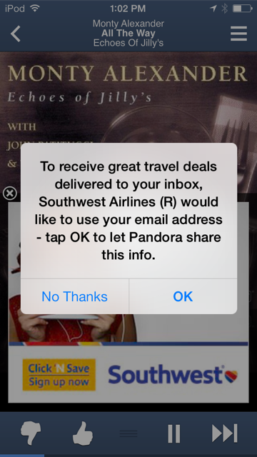 adstream - pandora southwest ad collecting emails
