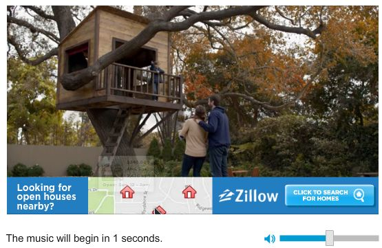 adstream - slacker - zillow video pre-roll to first playlist