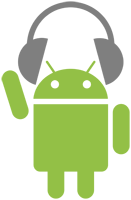 android with headphones