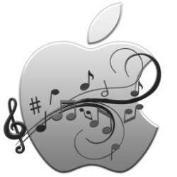 apple logo with music notes 250w