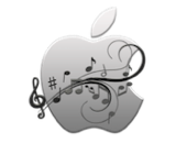 apple logo with music notes canvas