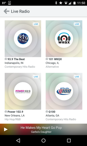 rdio live radio screenshot