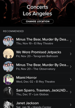 Spotify Songkick concerts