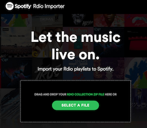 Spotify Rdio importer