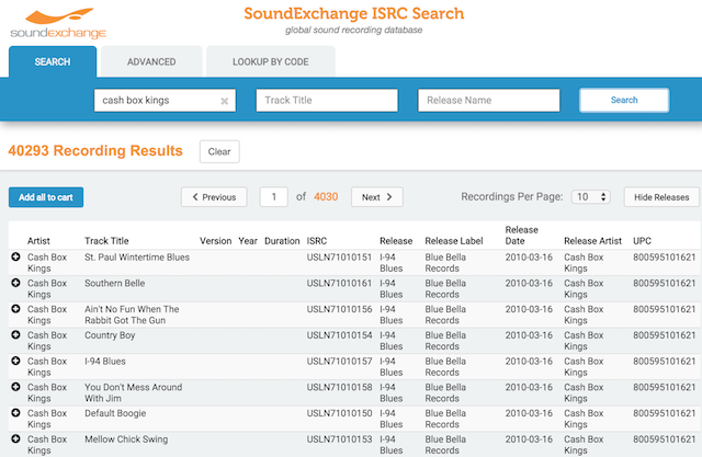SoundExchange ISRC database