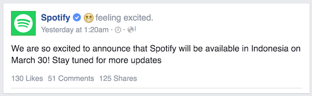 Spotify Indonesia FB post