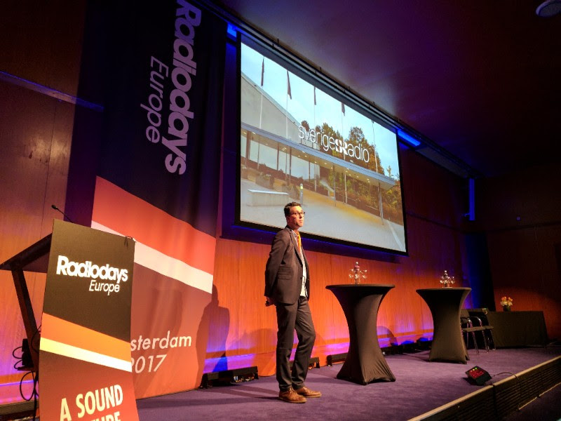 Simon Gooch, Swedish Radio's Innovation Officer, spoke about his work at SR. He sees his role as embedding innovation into everything the company does, rather than establishing separate innovation departments.